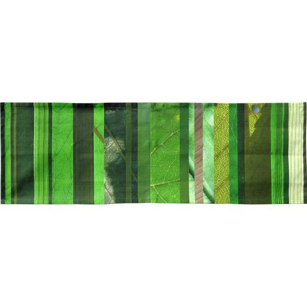 Cross runner with green vertical stripes