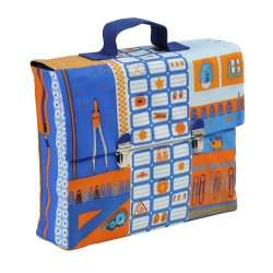 Schoolbag La Bricol Orange and blue